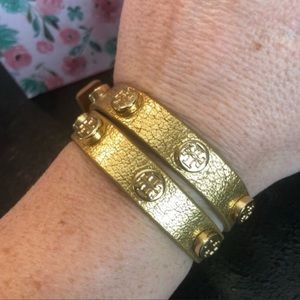Tory Burch EUC Gold Double Wrap Leather Bracelet